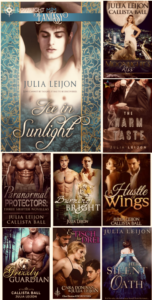 Click on the covers image to see titles put out using the pen name Julia Leijon, including German translations of some titles.